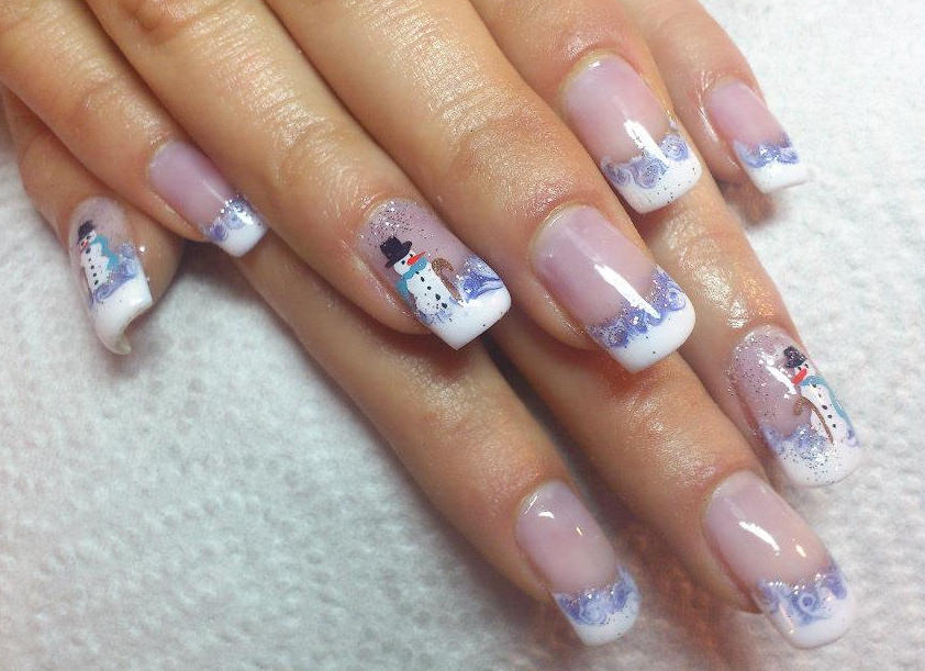 Acrylic Snowman Design Winter Nail Art Idea