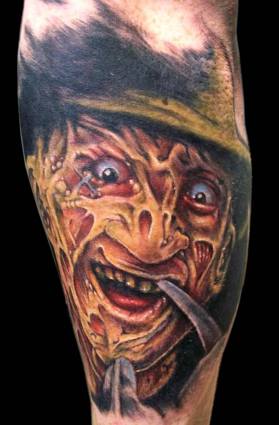 bf9bba60b Amazing Freddy Krueger Head Portrait Color Tattoo By TechniquesArt