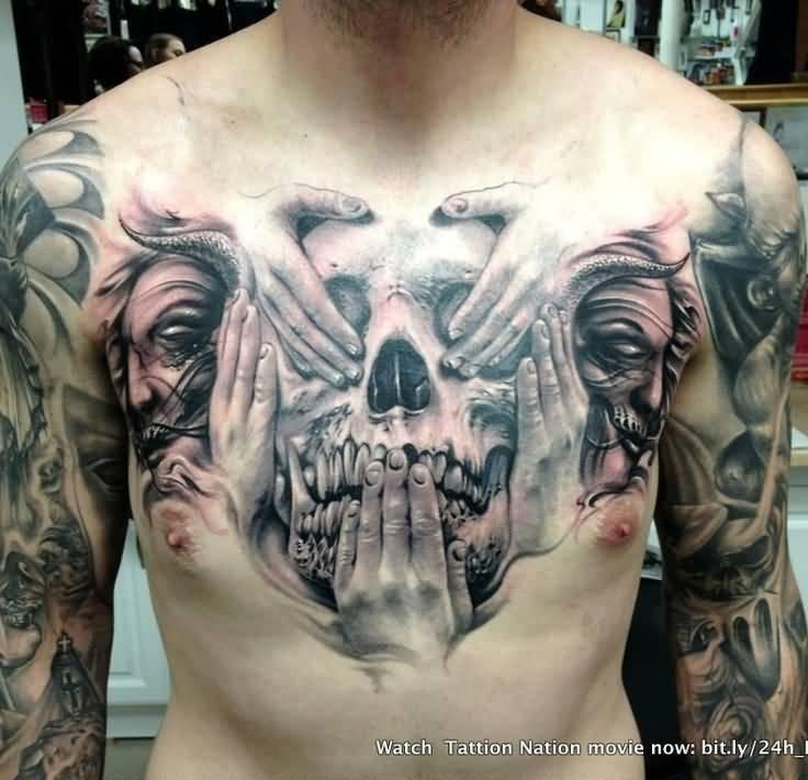 Black And Grey Evil Skulls Tattoo On Forearm