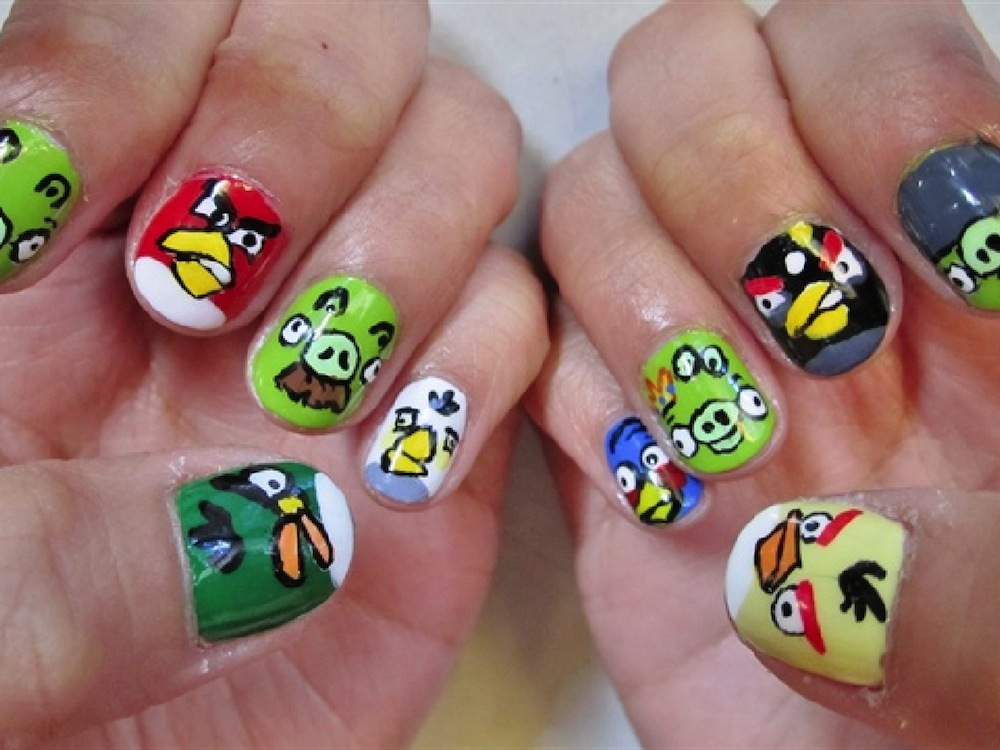 Angry Birds And Pigs Nail Art