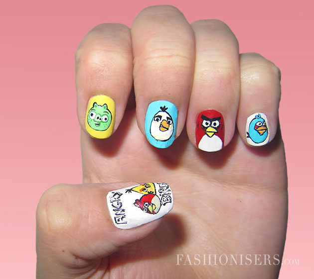 Angry Birds Cartoons Nail Art