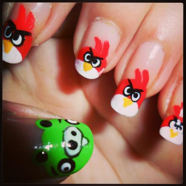 Angry Birds Nail Art By Phoboslune