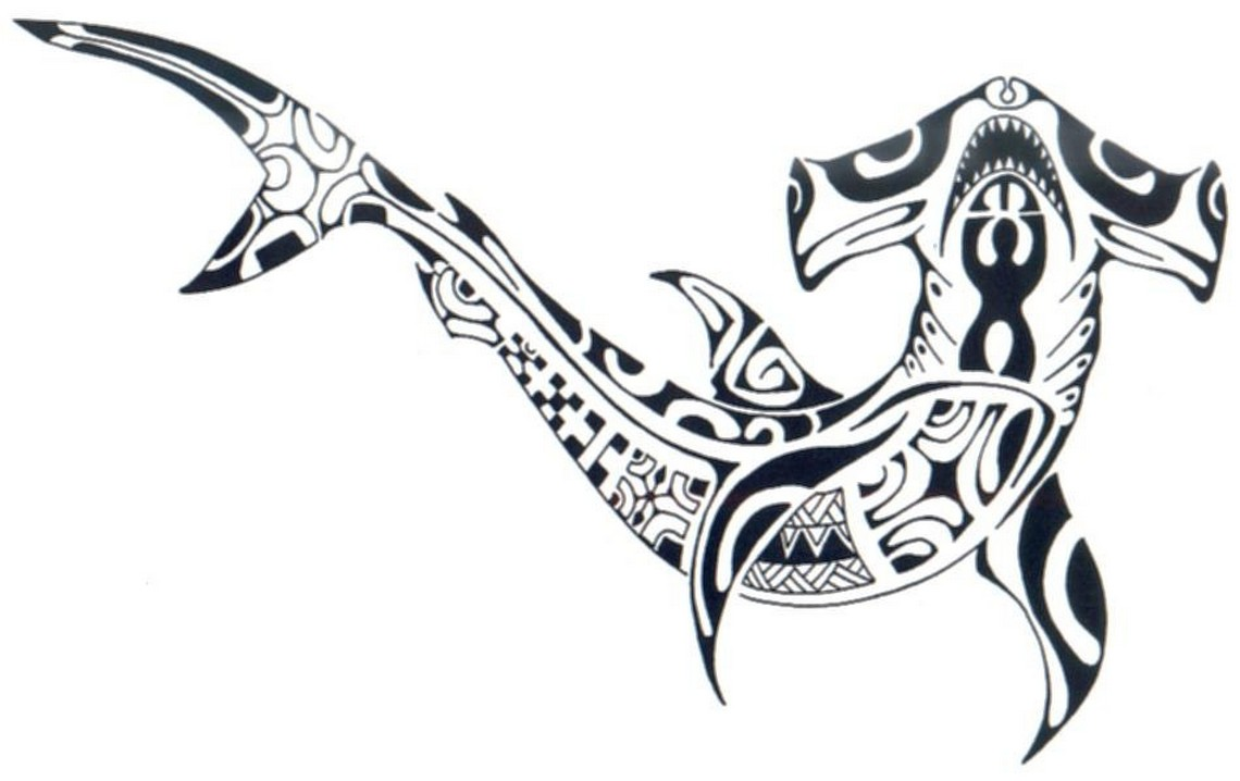 1d3c6215f Attractive Polynesian Tribal Hammerhead Shark Tattoo Sample