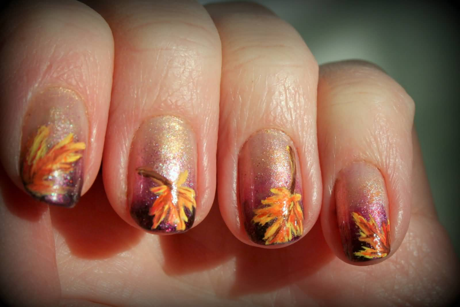 Autumn Fall Leaves Nail Art