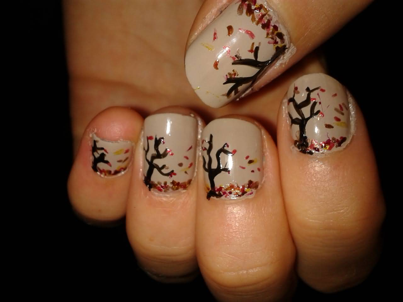 Autumn Fallen Tree Nail Design Idea