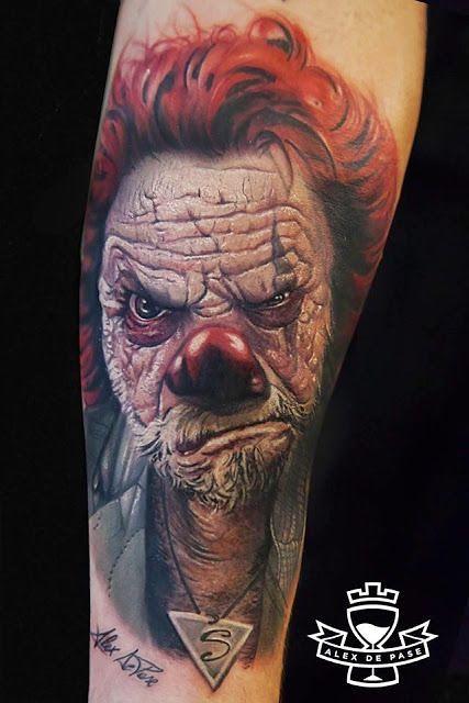 awesome 3d evil clown portrait tattoo