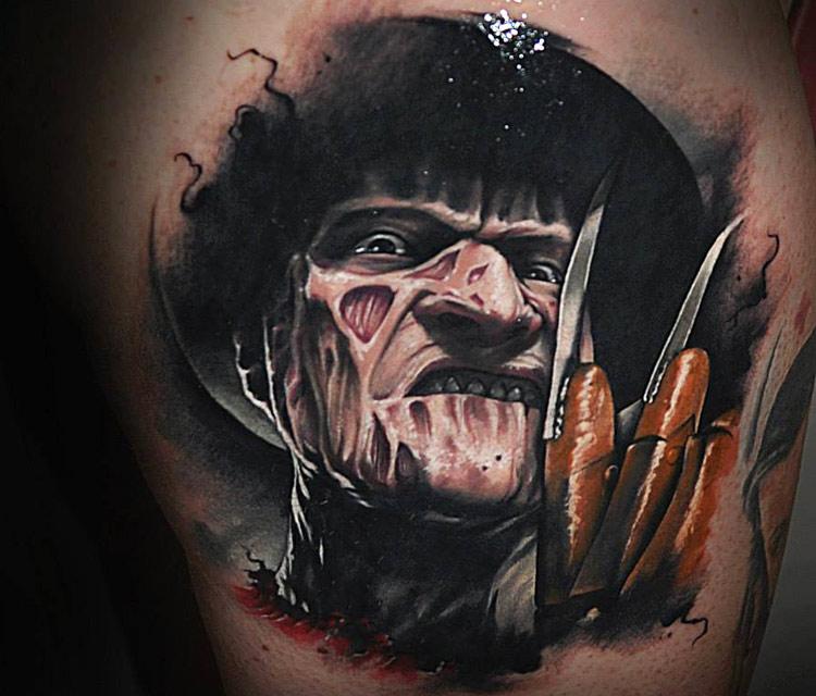Awesome 3D Freddy Krueger Portrait Tattoo By Benjamin Laukis