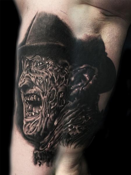 0b820c2e7 Awesome Dark Ink Scary Freddy Krueger Tattoo