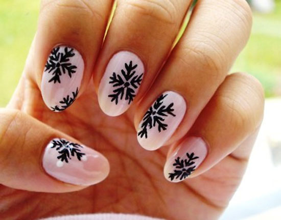 Baby Pink Nails With Black Snowflakes Design Winter Nail Art