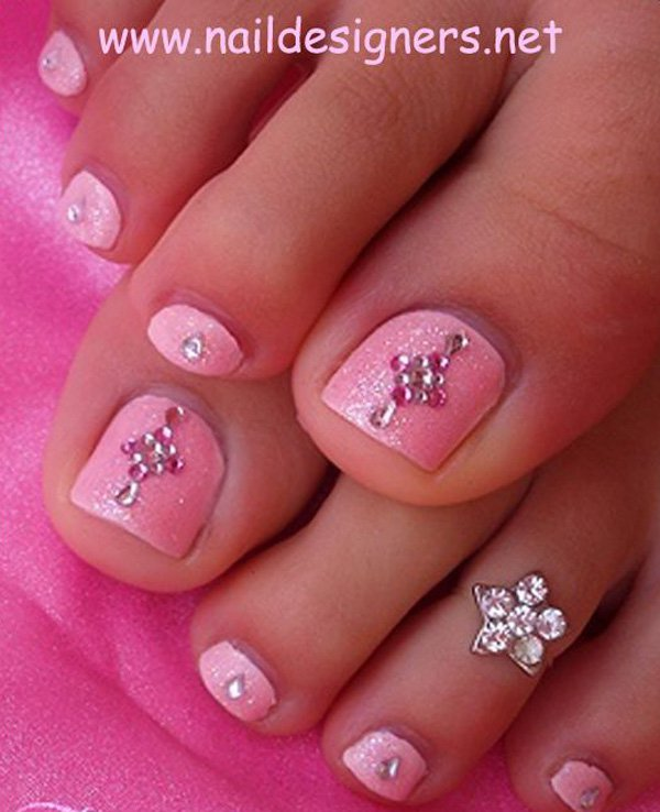 Baby Pink Toe Nail Art With Rhinestones Design - 40+ Pink Toe Nail Art Design Ideas