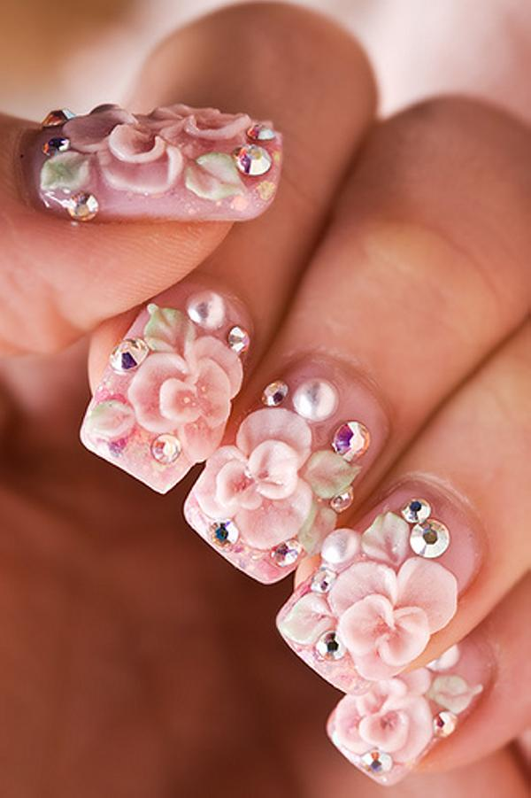Beautiful Pink 3d Flowers Nail Art