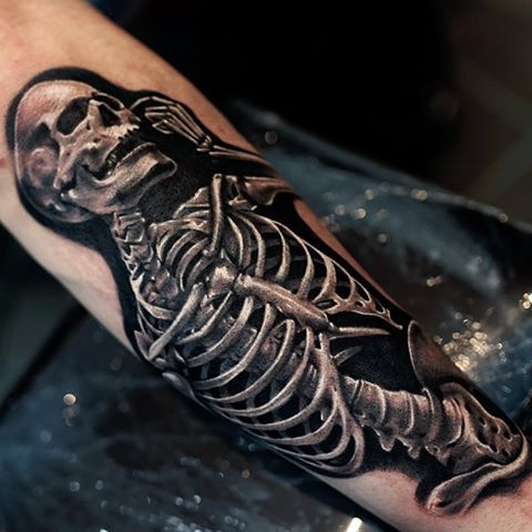 Arm Sleeve Skeleton Uv Tattoo For Men