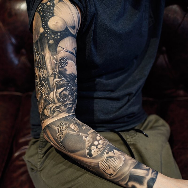 Black And Grey Universe Tattoo On Full Sleeve By Khan Tattoo