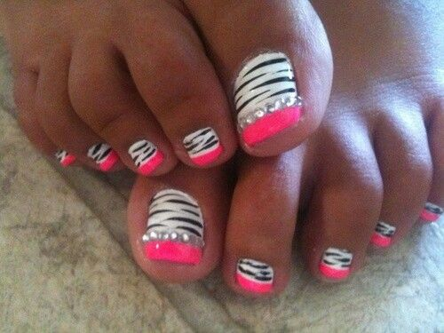 40 pink toe nail art design ideas black and white zebra print with pink tip toe nail art prinsesfo Gallery