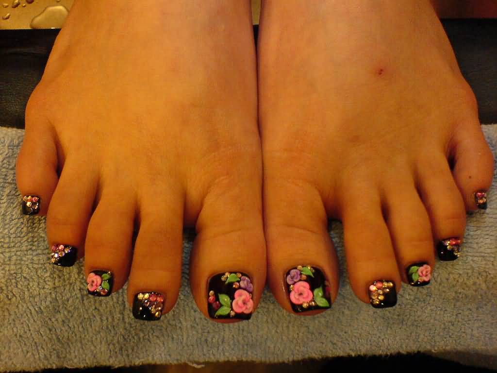 Black Nails With Flowers Toe Nail Art Design Idea