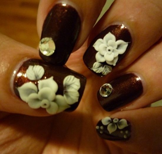 - Bloody Red Nails With White 3d Flower Nail Art
