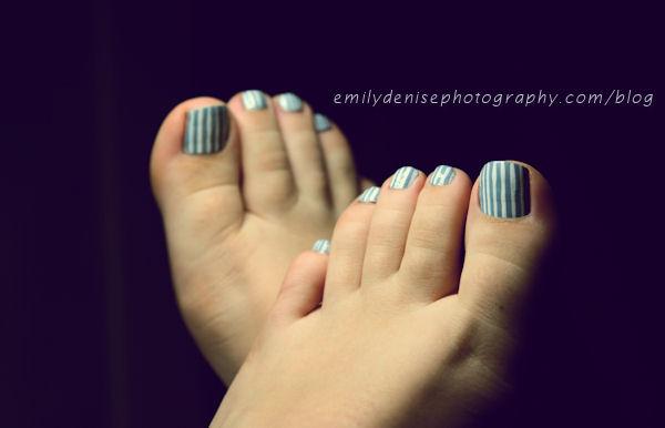 60 most beautiful toe nail art design ideas blue and white stripes design toe nail art prinsesfo Choice Image