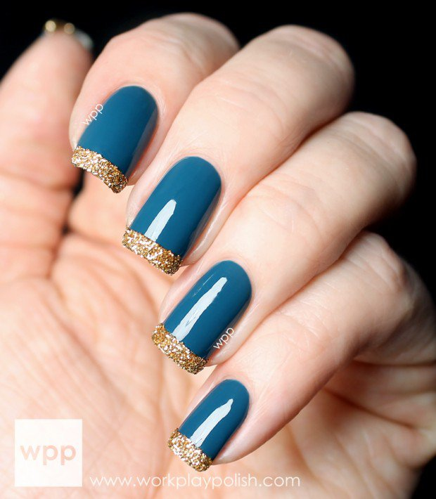 blue glossy nails with gold glitter tip winter nail art - Ideas For Nails Design