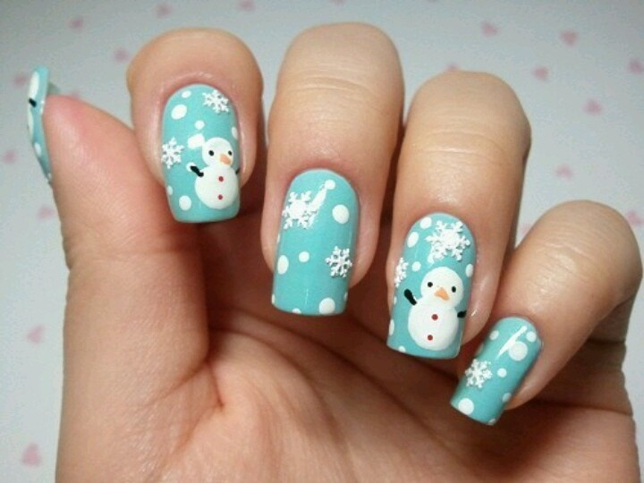 Blue Nails With With Snowflakes And Snowman Design Winter Nail Art - 50+ Latest Winter Nail Art Design Ideas