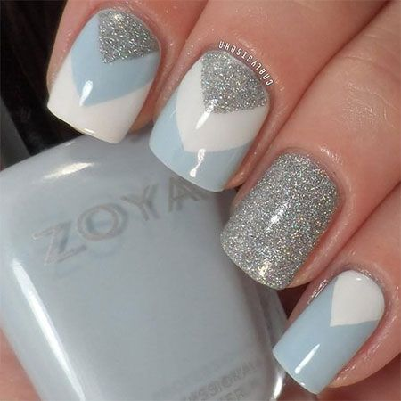 Blue White And Grey Glitter Gel Winter Nail Art - 61 Latest Nail Art Design Ideas For Winter