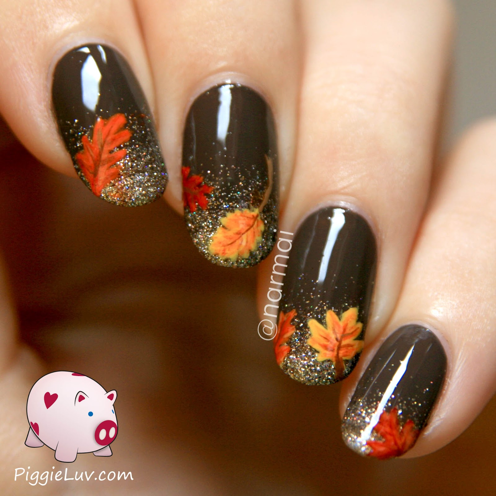 Brown Glossy Nails With Glitter And Autumn Leaves Nail Art