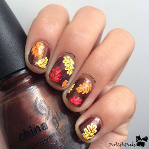 Brown Nails With Fallen Leafs Autumn Nail Art