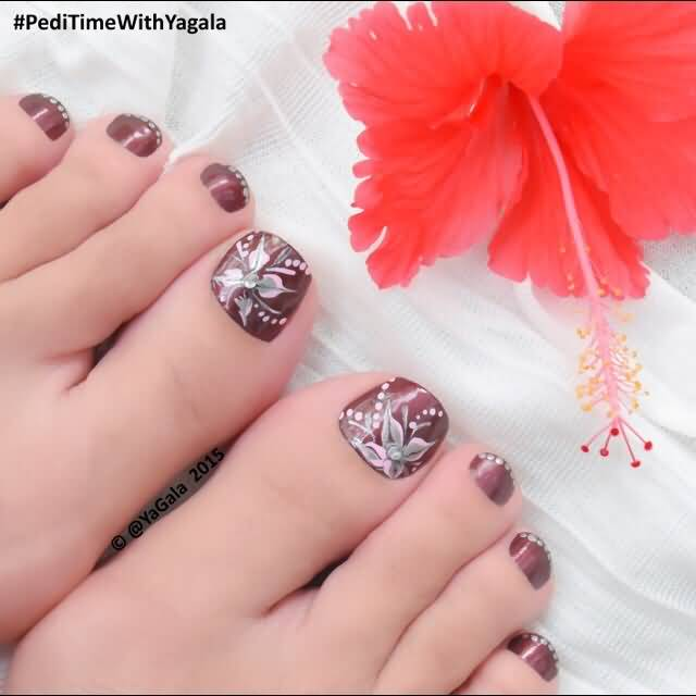 Brown Nails With Flowers Design Toe Nail Art