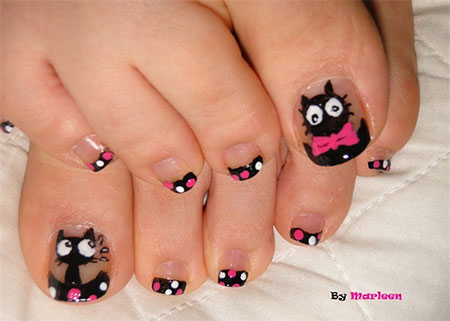 50 best toe nail art design ideas for girls cat design toe nail art prinsesfo Gallery
