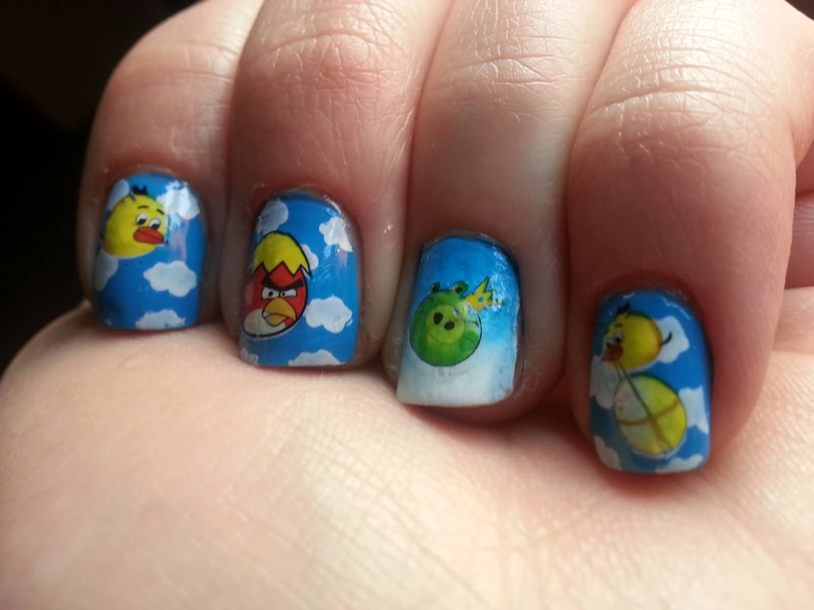 Clouds Angry Birds Nail Art Design