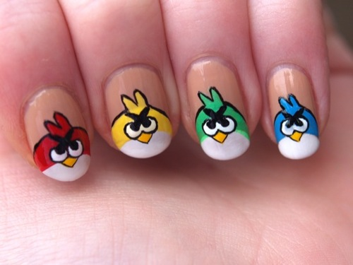 Colorful Angry Birds Nail Art Design - 51+ Latest Angry Birds Nail Art Design Ideas