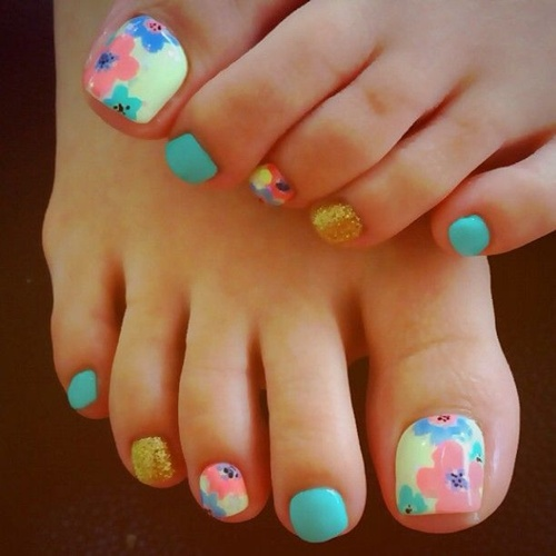 Colorful flowers toe nail art prinsesfo Images