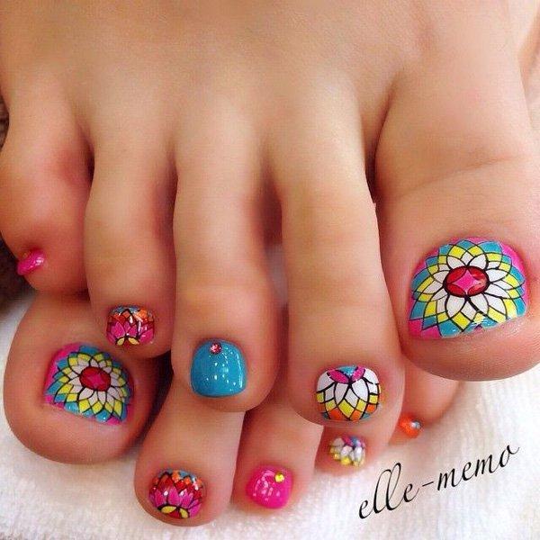 Colorful Mosaic Flowers Toe Nail Art