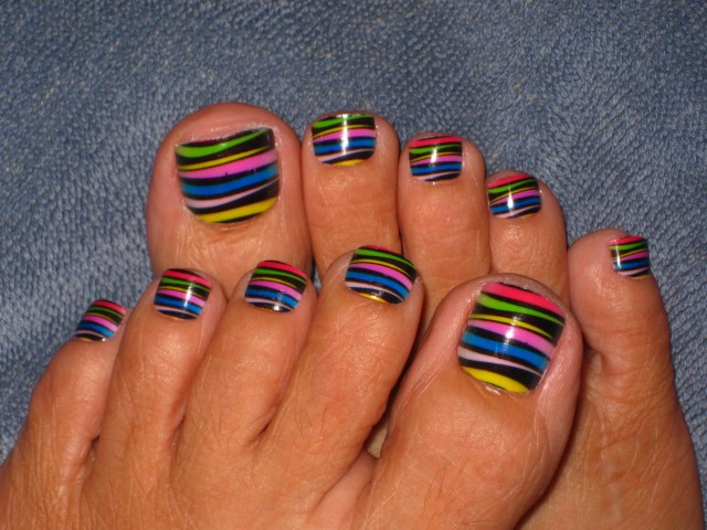 Colorful Stripes Toe Nail Art Design Idea - 55 Latest Toe Nail Art Designs