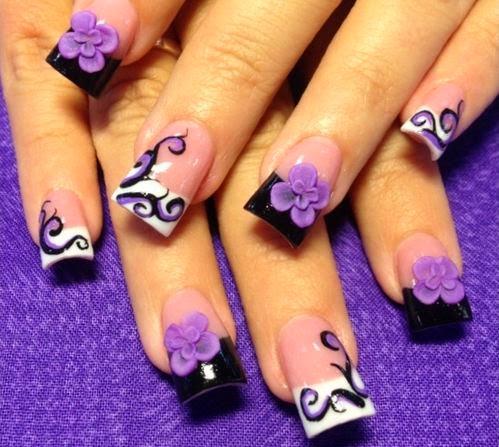 50 amazing 3d nail art design ideas cute 3d purple flowers nail art design idea prinsesfo Image collections