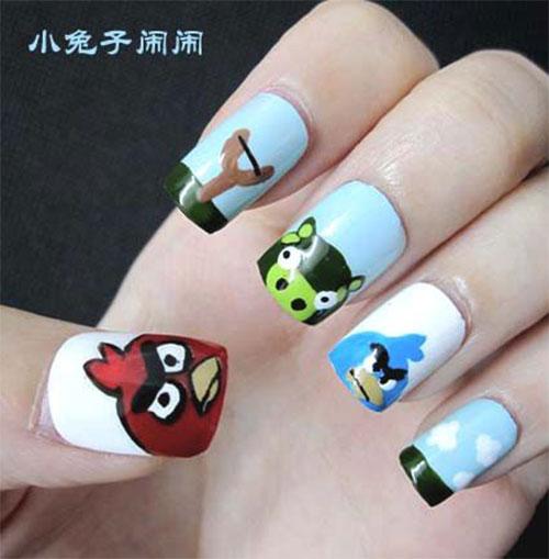 Cute Angry Birds Nail Art Design Idea For S