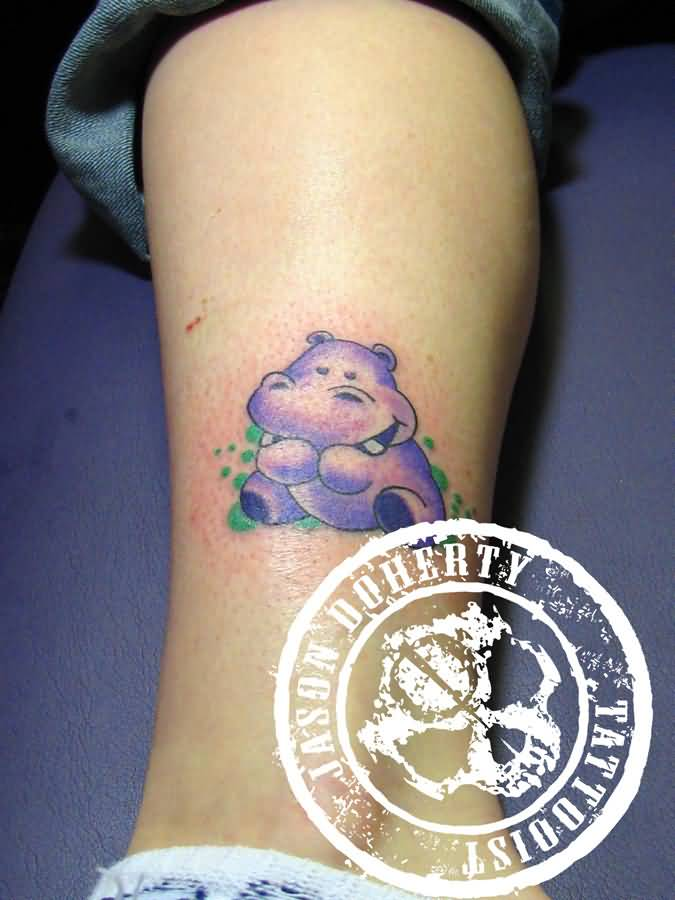 8656a2002 Cute Baby Purple Hippo Tattoo On Leg By MrClean