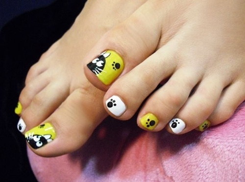 Cute Cat Toe Nail Art Design Idea
