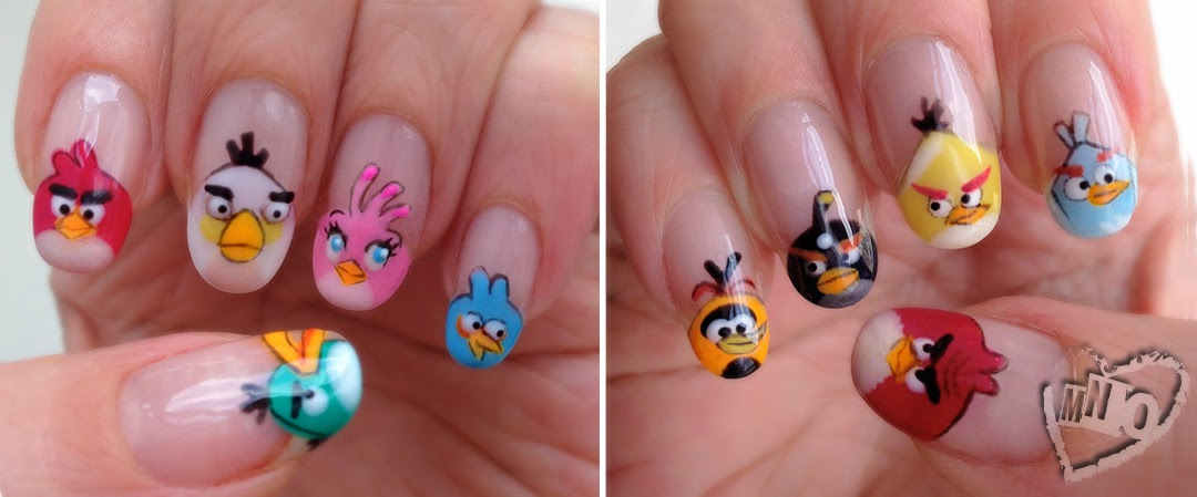 Cute Gel Angry Birds Nail Art