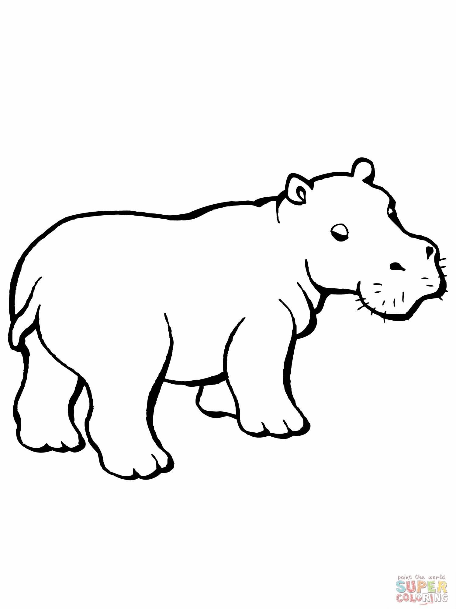 Line Art Hippo : Outline hippo tattoos