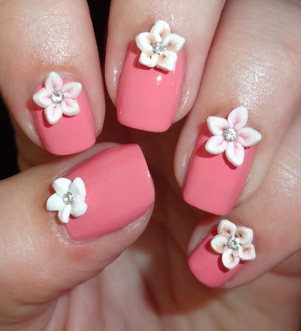 50 amazing 3d nail art design ideas cute pink nails with white 3d flowers nail art idea prinsesfo Gallery