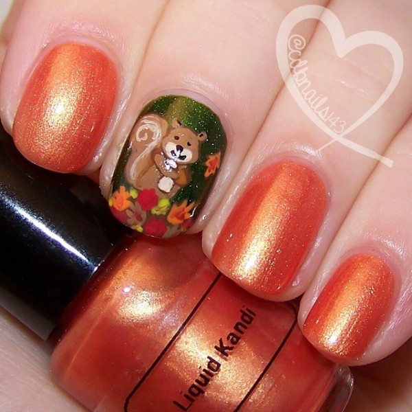- Cute Squirrel With Fallen Leaves Autumn Nail Art