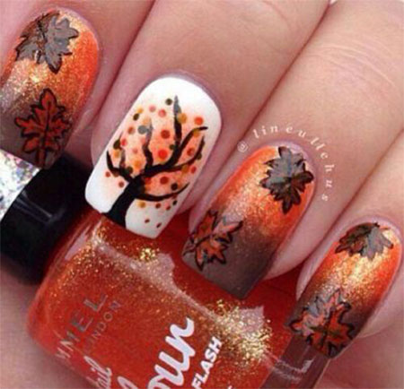 Fallen Leafs Autumn Nail Art Design