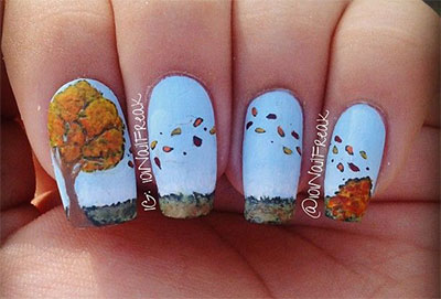 Fallen tree leafs autumn nail art design idea prinsesfo Image collections
