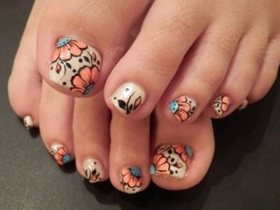 60 most beautiful toe nail art design ideas flowers design toe nail art prinsesfo Images