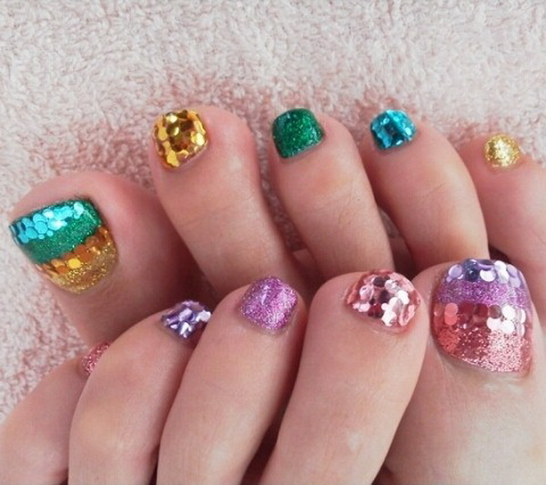 57 Most Beautiful Glitter Nail Art Design Ideas: 60 Most Beautiful Toe Nail Art Design Ideas