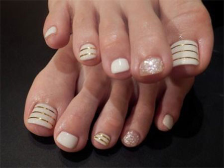 Golden stripes toe nail art prinsesfo Images