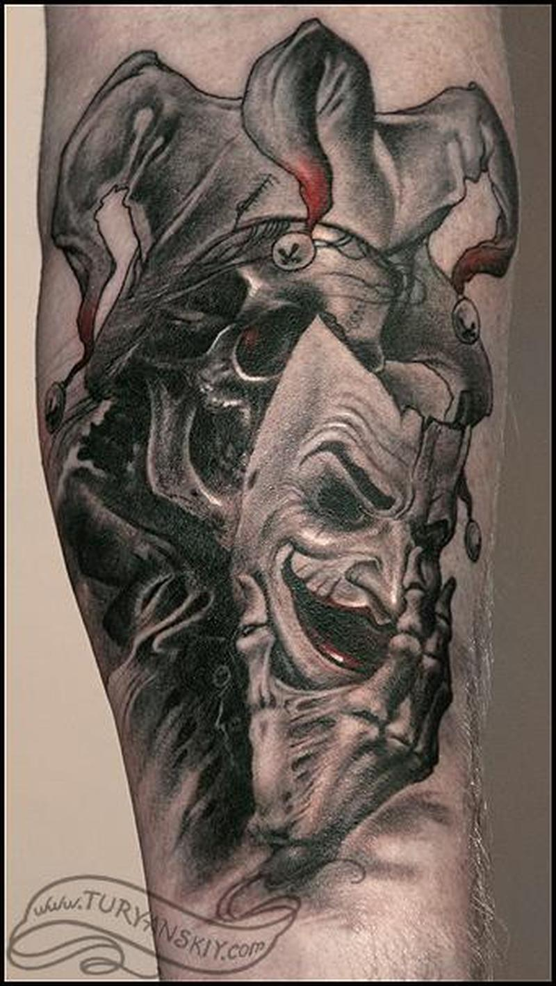 82824fb81 Grey And Black Evil Jester Wearing Mask Tattoo