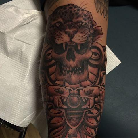 de506b9a9 Grey And Black Jaguar Aztec Skull Tattoo