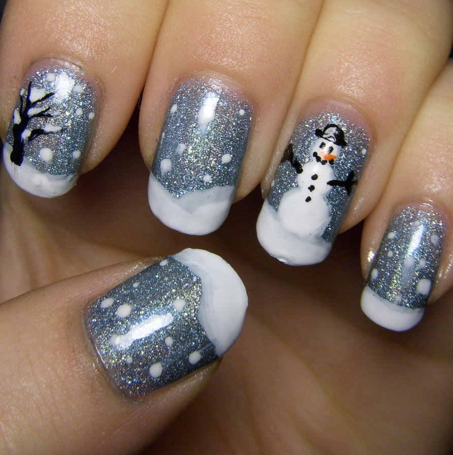Grey Glitter Gel Nails With Snowman Design Winter Nail Art