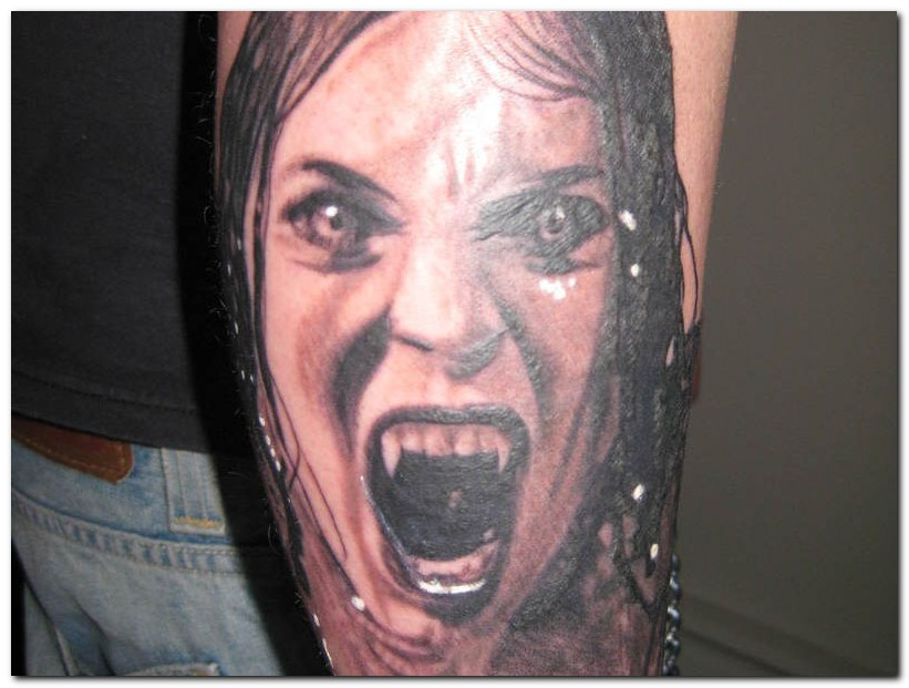 662489c98 Grey Ink Angry Evil Girl Head Tattoo On Arm Sleeve